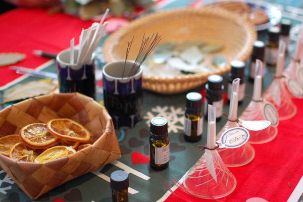 フクヤのワークショップ、クリスマスの香りのリース作り