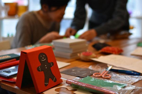 ワークショップ、エスカで作るジンジャーブレッドマンの小箱
